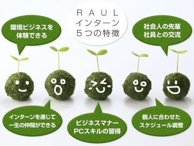 RAUL株式会社が、環境ビジネスが学べるインターンシップ2013春募集を開始致しました