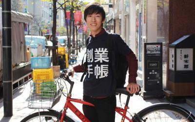 明大3年青野君が自転車で大阪~東京のシェアオフィス訪問<br />創業手帳のビズシードが支援