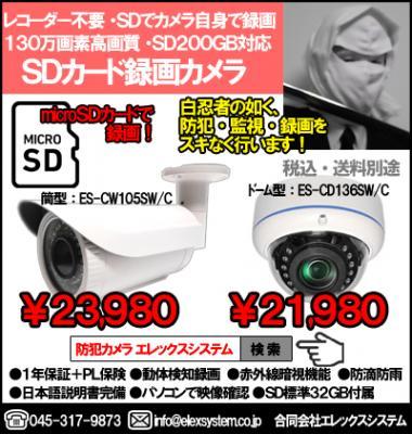 賃貸物件(アパート・マンション他)・小規模建築物防犯管理で大人気!レコーダー・配線不要!SDカードで録画する、SDカード録画カメラ(130万画素・SD最大200GB迄対応)のご紹介!